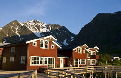 Fisherman homes. On a wooden pier in Troms, Norway royalty free stock images