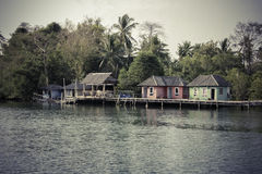 Fisherman house on wooden stilts Stock Photo