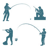 Fisherman and hunter silhouettes Royalty Free Stock Photography