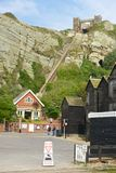 Fisherman huts and funicular at Hastings, England Royalty Free Stock Photography