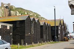 Fisherman huts at Hastings, England Stock Images