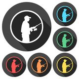 Fisherman icons set with long shadow. Vector icon Stock Images