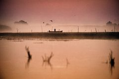 Fisherman In Danube Delta In The Morning Catching Fish Royalty Free Stock Photography