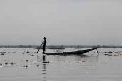 Fisherman on Inle Lake Royalty Free Stock Photography
