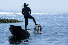 Fisherman on Inle Lake. INLE LAKE, MYANMAR - FEBRUARY 17: Fisherman catches fish for food on February 17, 2011 on Inle Lake, Myanmar. Intha people possess the Royalty Free Stock Photo