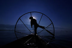 Fisherman of Inle Lake Royalty Free Stock Images