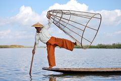 Fisherman at Inle Lake Stock Photo