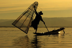 Fisherman of Inle Lake. In action how to fishing, Myanmar Royalty Free Stock Photography