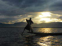 Fisherman in Inle Lake Stock Photography