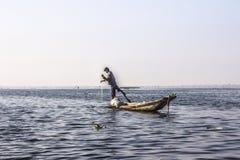 Fisherman at Inle lake Royalty Free Stock Images