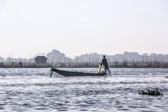 Fisherman at Inle lake Royalty Free Stock Image