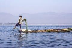 Fisherman at Inle lake Stock Photos