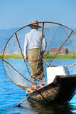 Fisherman in inle lake, Myanmar. stock photo