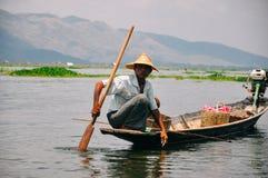 A fisherman on Inle Lake. Royalty Free Stock Photos