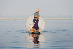 Fisherman on inle lake myanmar Royalty Free Stock Photography