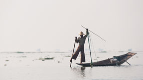 Fisherman on inle lake myanmar Stock Photos