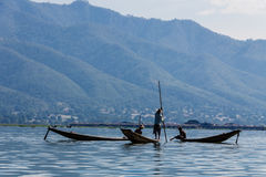 Fisherman ,  inle lake in Myanmar (Burmar) Royalty Free Stock Image