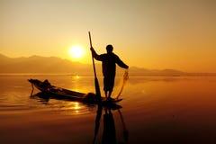 Fisherman, Inle Lake, Myanmar Royalty Free Stock Photos