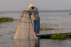 Fisherman on the Inle lake in Myanmar Royalty Free Stock Photos