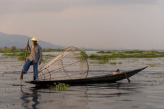 Fisherman on the Inle lake in Myanmar Royalty Free Stock Photo