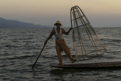 Fisherman on the Inle lake in Myanmar Royalty Free Stock Images
