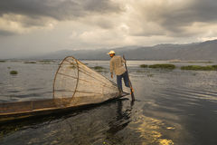 Fisherman on the Inle lake in Myanmar Stock Photos