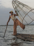 Fisherman on the Inle lake in Myanmar Stock Photo