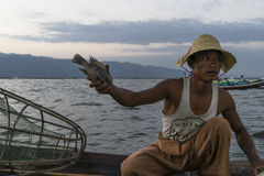 Fisherman on the Inle lake in Myanmar Stock Image