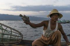 Fisherman on the Inle lake in Myanmar Stock Image