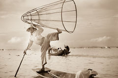 Fisherman, Inle Lake, Myanmar - sepia Royalty Free Stock Images