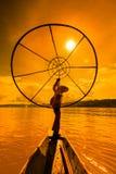 Fisherman at Inle lake in Myanmar Royalty Free Stock Image