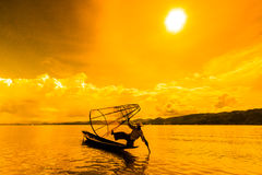 Fisherman at Inle lake in Myanmar Royalty Free Stock Photos
