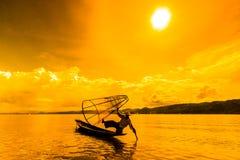 Fisherman at Inle lake in Myanmar Royalty Free Stock Photos
