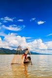 Fisherman at Inle lake in Myanmar Stock Photography