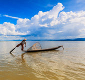 Fisherman at Inle lake in Myanmar Stock Photo