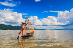 Fisherman at Inle lake in Myanmar Stock Images