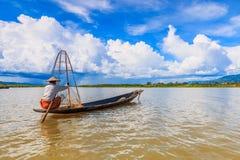 Fisherman at Inle lake in Myanmar Royalty Free Stock Photo