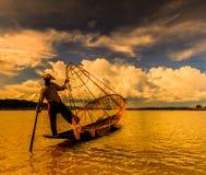 Fisherman at Inle lake in Myanmar Royalty Free Stock Photography