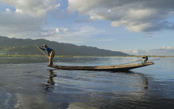 Fisherman on Inle lake. National fishing in Myanmar (Burma Stock Images