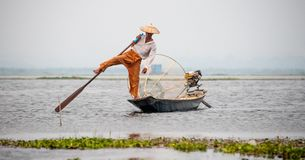 Traditional Shan fisherman in central Myanmar royalty free stock image