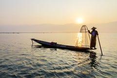 Fisherman on Inle Lake, Shan, Myanmar Royalty Free Stock Photography