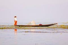 Fisherman on Inle Lake, Shan, Myanmar Royalty Free Stock Photos