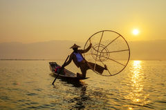 Fisherman on Inle Lake, Shan, Myanmar Stock Photography