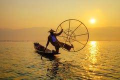 Fisherman on Inle Lake, Shan, Myanmar Stock Images