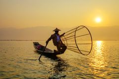 Fisherman on Inle Lake, Shan, Myanmar Royalty Free Stock Images