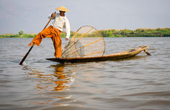 Fisherman in Inle Lake, Shan State, Myanmar (Burma) Royalty Free Stock Photos