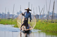 Traditional Fisherman at Inle Lake Stock Photos