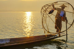 Fisherman on Inle Lake, Shane, Myanmar Royalty Free Stock Images