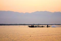 Fisherman on Inle Lake, Shane, Myanmar stock photo