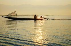 Fisherman on Inle Lake, Shane, Myanmar Royalty Free Stock Image